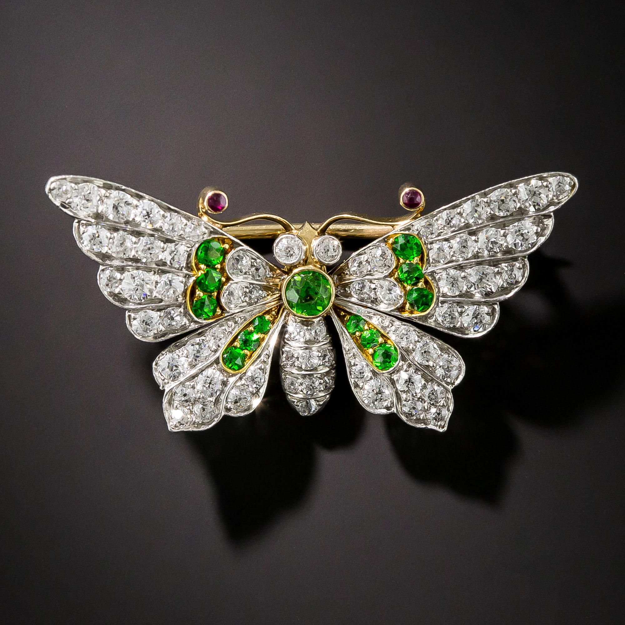 Diamond and Demantoid Garnet Butterfly Brooch c.Fin de Siecle.
