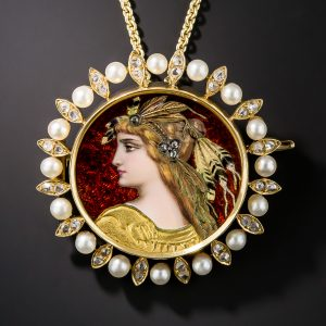 Fin de Siecle Enamel, Diamond and Pearl Combination Pin and Pendant.