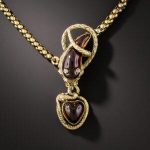 Victorian Garnet Snake Necklace.