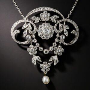 Edwardian Floral Guirlande Diamond Lavaliere.