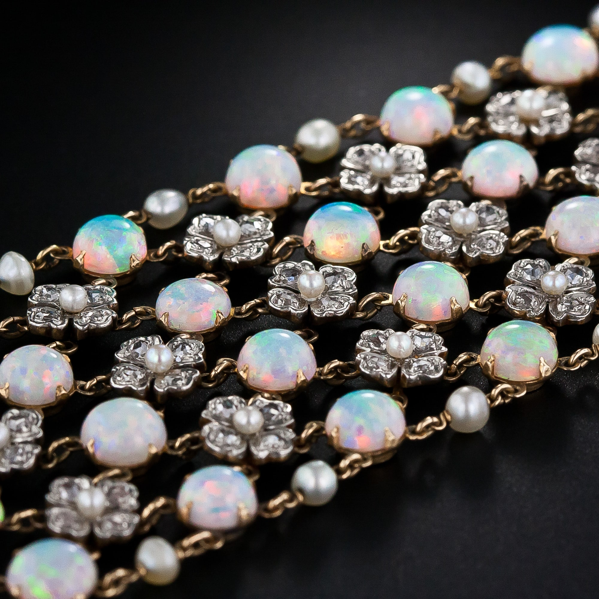 "Belle Epoque Diamond and Opal Floral Motif ""Dog Collar"""