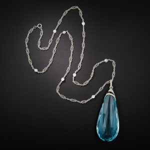 Art Deco Aquamarine Briolette Lavaliere Necklace c.1925.