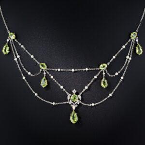 Edwardian Peridot, Diamond and Pearl Swag Necklace.
