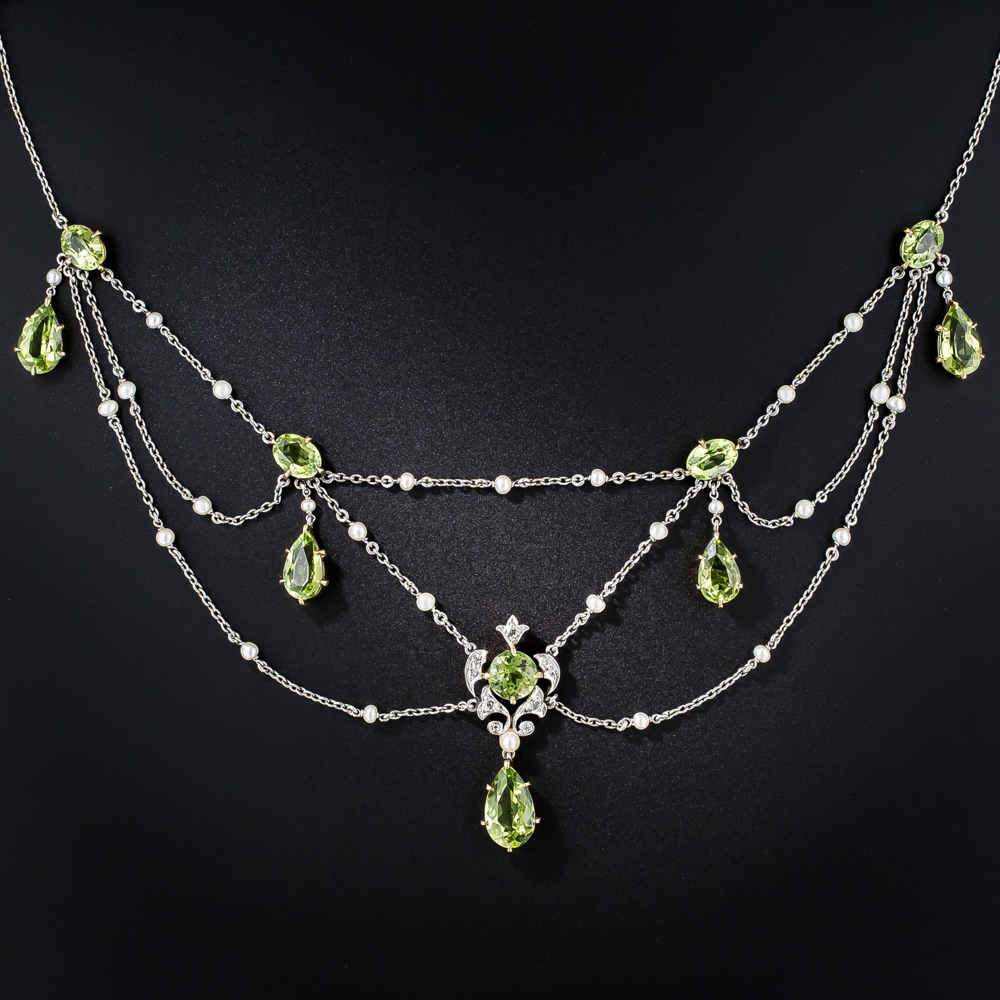 Edwardian Peridot, Diamond and Pearl Swag Necklace.