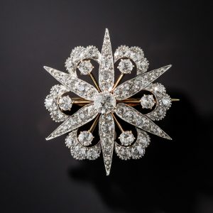 Victorian Diamond Starburst Pendant-Brooch, c.1885.