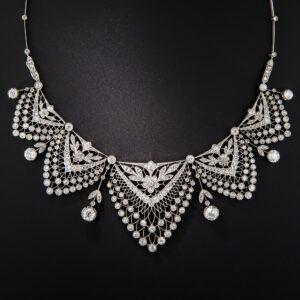 Belle Epoque Floral, Foliate and Lacework Motif Diamond Festoon Necklace.