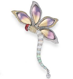 Ametrine Diamond and Opal Dragonfly Brooch. Photo Courtesy of Christie's.