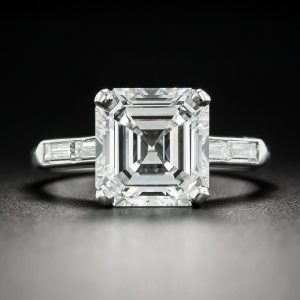 3.30 ct. Asscher-Cut Diamond Engagement Ring.