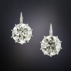 7.41 Carat European-Cut Diamond Drop Earrings