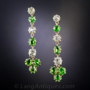 Antique Demantoid Garnet Earrings.