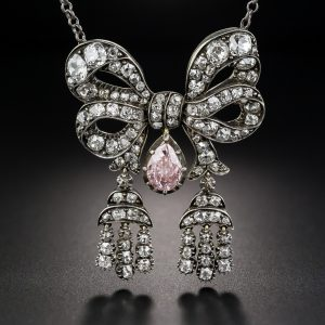 Victorian Pink Diamond Bow Necklace.