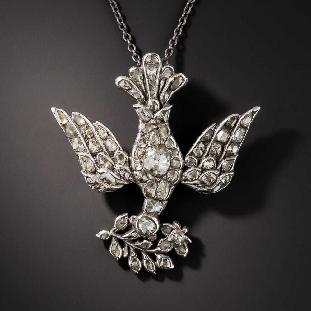 Victorian Dove & Olive Branch Necklace.
