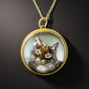 Antique Reverse Crystal Cat Intaglio.