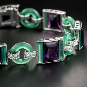 Art Deco Chalcedony, Amethyst, Glass and Diamond Bracelet by Black Starr and Frost