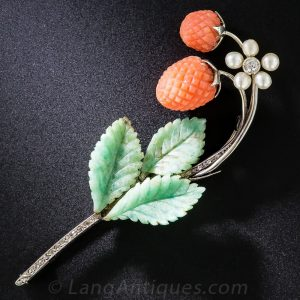 Wild Strawberry Brooch with Amazonite Leaves.
