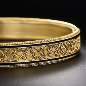 Castellani Gold & Enamel Bangle Bracelet.
