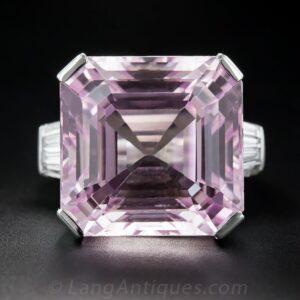Kunzite and Diamond Ring.
