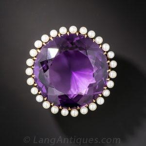 Amethyst Brooch with Pearl Surround..