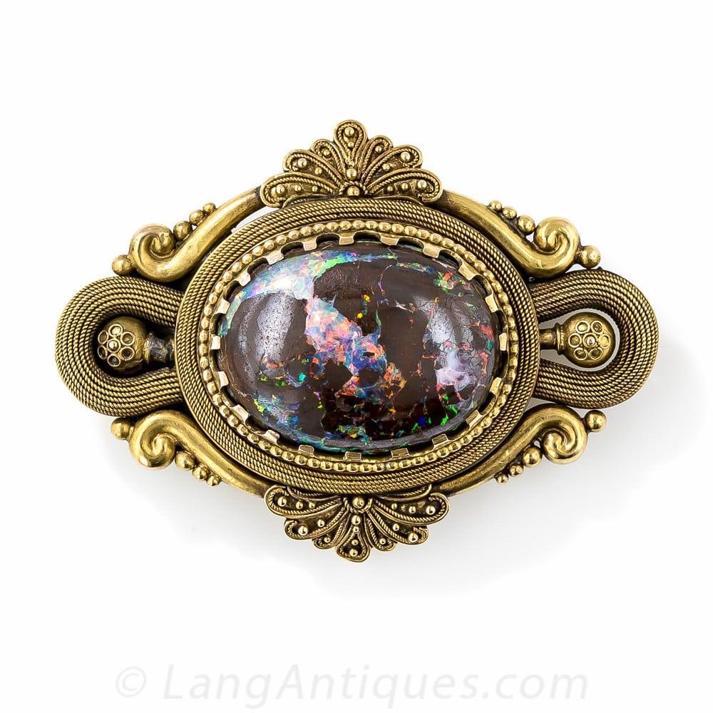 Victorian Boulder Opal Brooch.