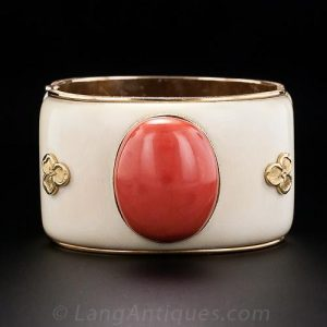 Mario Buccellati Coral and Ivory Bangle.