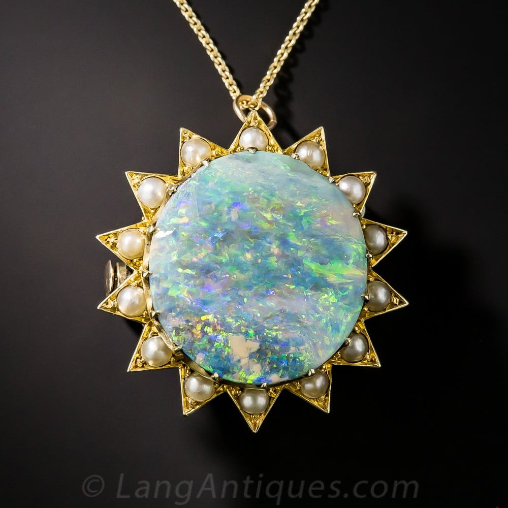 Victorian Opal & Seed Pearl Pendant.