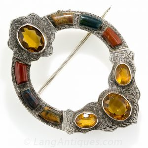 Scottish Chalcedony and Citrine Brooch.