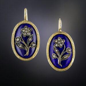 Victorian Cobalt Enamel Diamond Earrings.