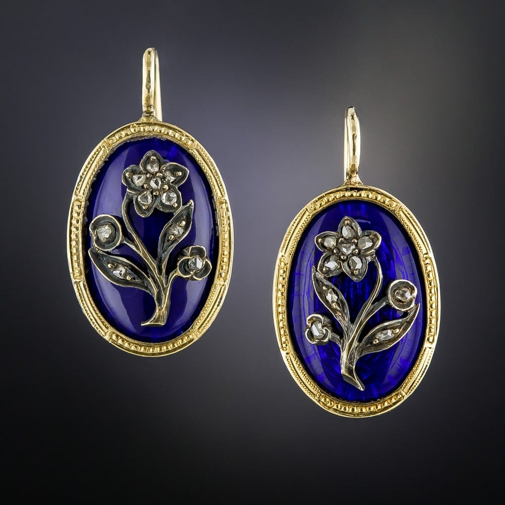 Victorian Cobalt Enamel Diamond Earrings.