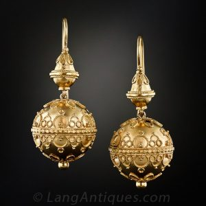 Victorian Etruscan Revival Gold Earrings.