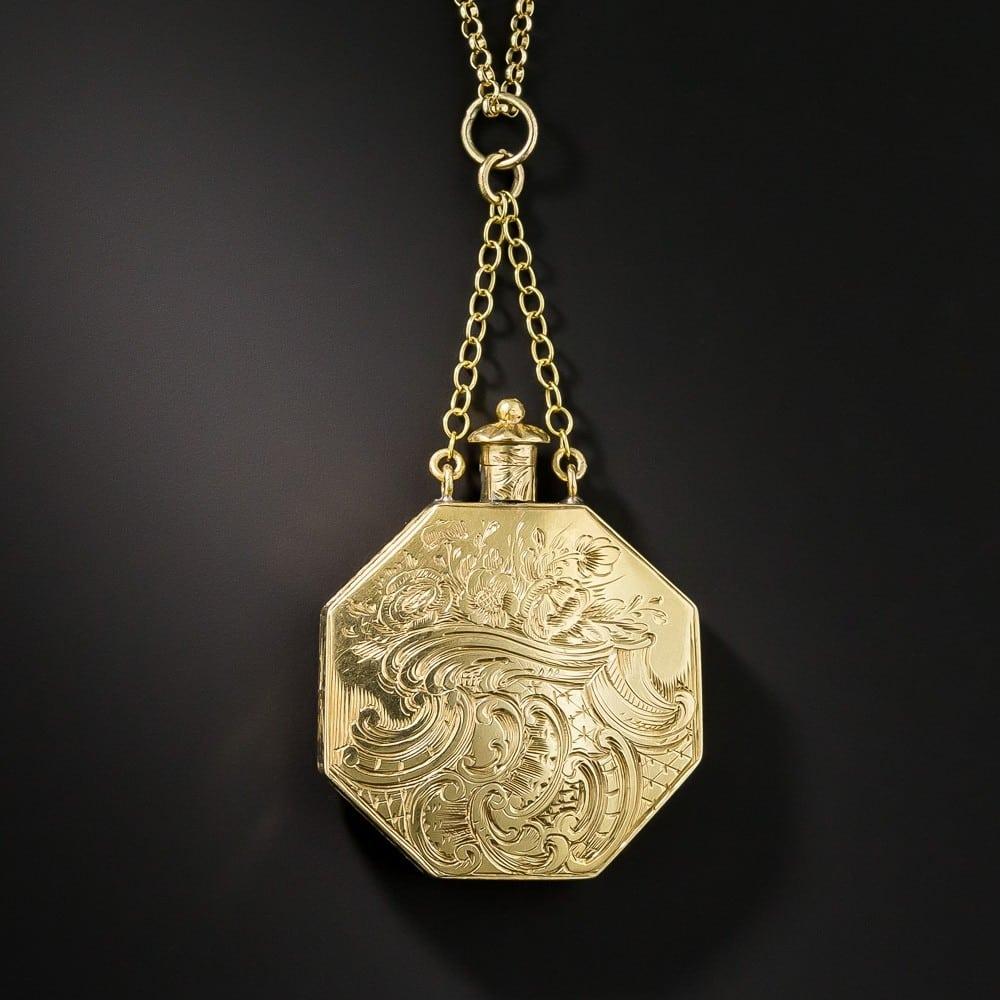 Victorian Engraved Perfumer Pendant.
