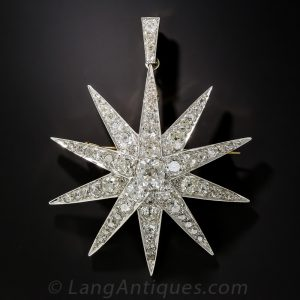 Victorian Diamond Star Pendant-Brooch.