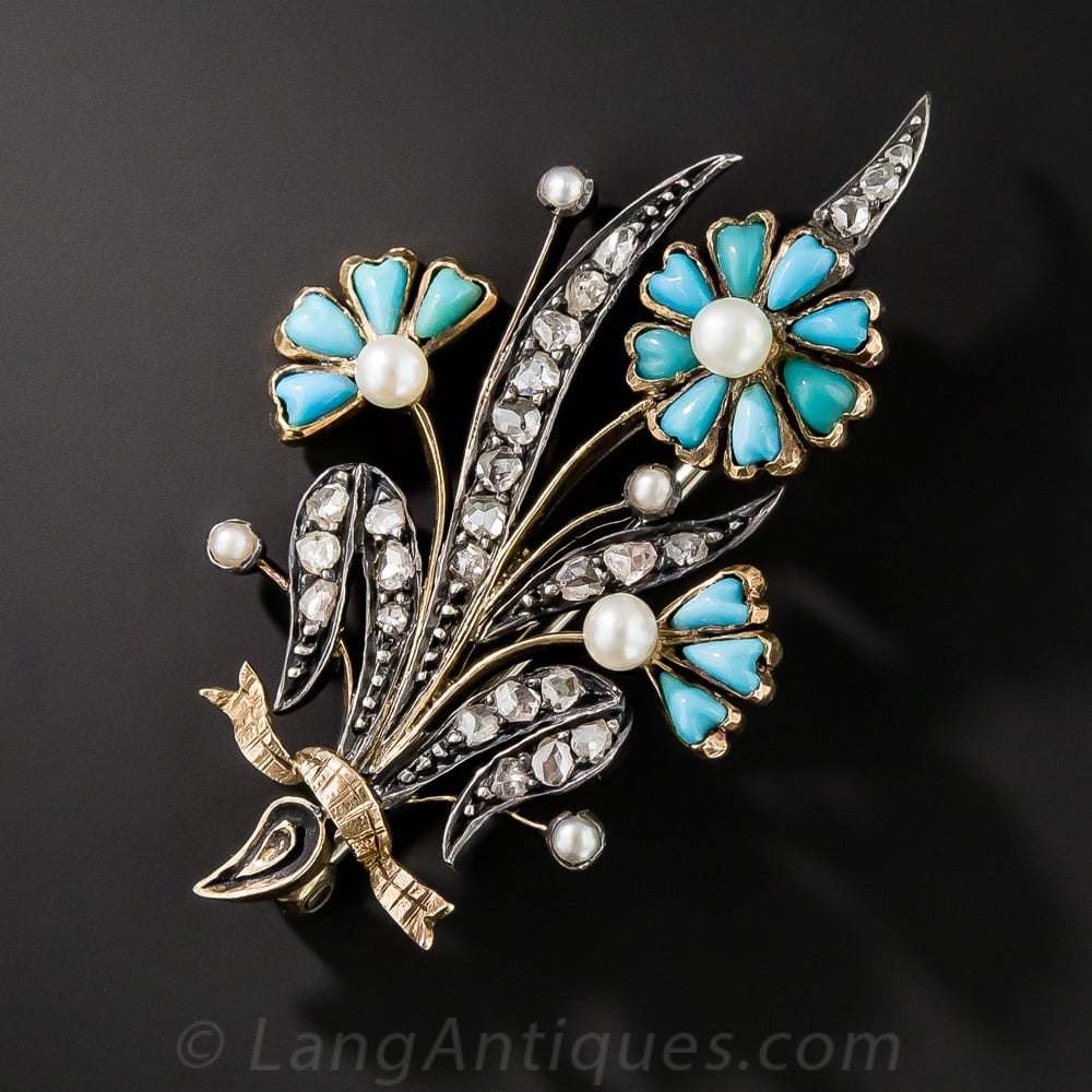 Victorian Turquoise Flower Brooch.