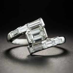 Emerald-Cut Diamond Platinum Engagement Ring.