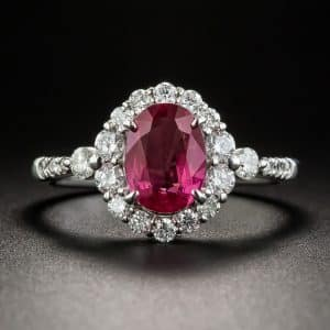 No-Heat Ruby Platinum Diamond Ring