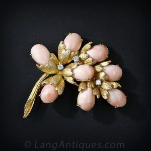Angel Skin Coral and Diamond Brooch.