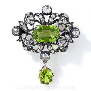 Antique Rose-Cut Diamond and Peridot Pendant/Brooch