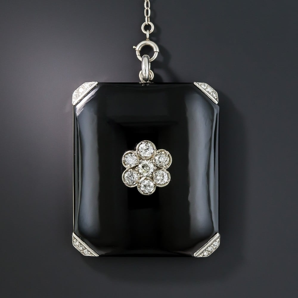 Art Deco Onyx and Diamond Locket Necklace