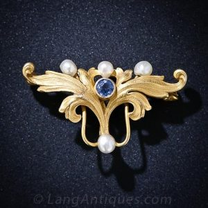 Art Nouveau Montana Sapphire and Pearl Pin.