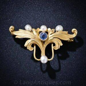 Art Nouveau Montana Sapphire and Pearl Pin.