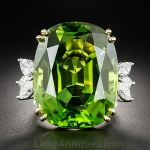 Vintage Peridot and Diamond Ring.