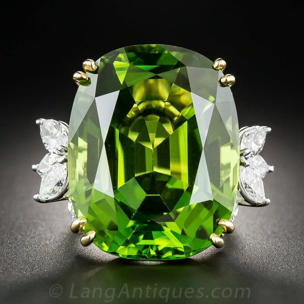 Vintage Peridot and Diamond Ring.