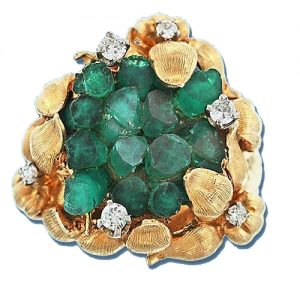 Synthetic Emerald and Diamond Flower Motif Ring