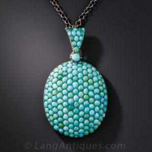 English Victorian Turquoise Pendant Locket