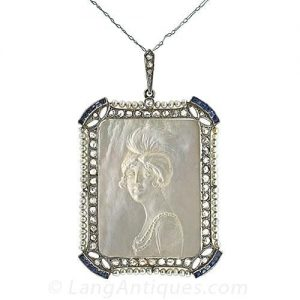 Exquisite Carved Mother of Pearl Cameo Pendant.