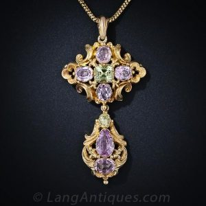 Georgian Repousse Pink Topaz and Chrysoberyl Pendant.