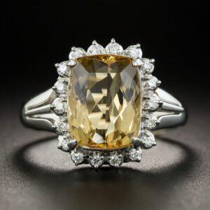 Imperial Topaz Platinum Diamond Ring