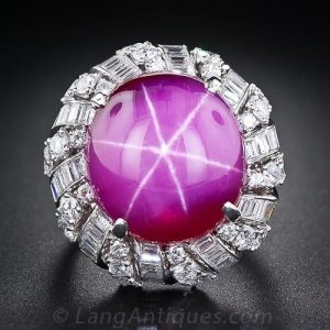 Large Scale Synthetic Star Ruby and Platinum Diamond Ring