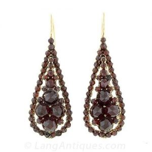 Victorian Bohemian Garnet Earrings.