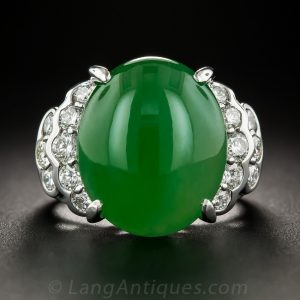 Natural Burmese Jade Platinum Diamond Ring.