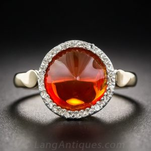 Orange Fire Opal and Diamond Ring.